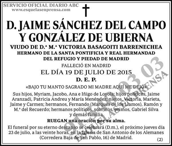 Jaime Sánchez del Campo y González de Ubierna
